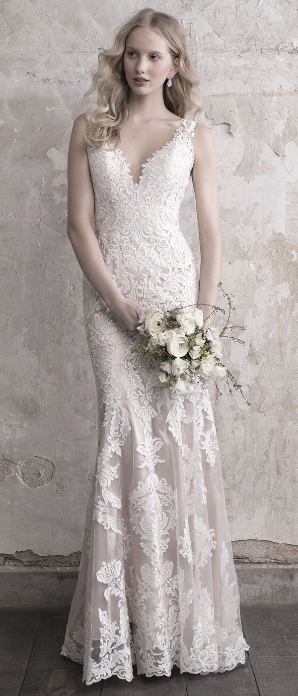 Madison James floral lace v neck wedding dress 2018 collection