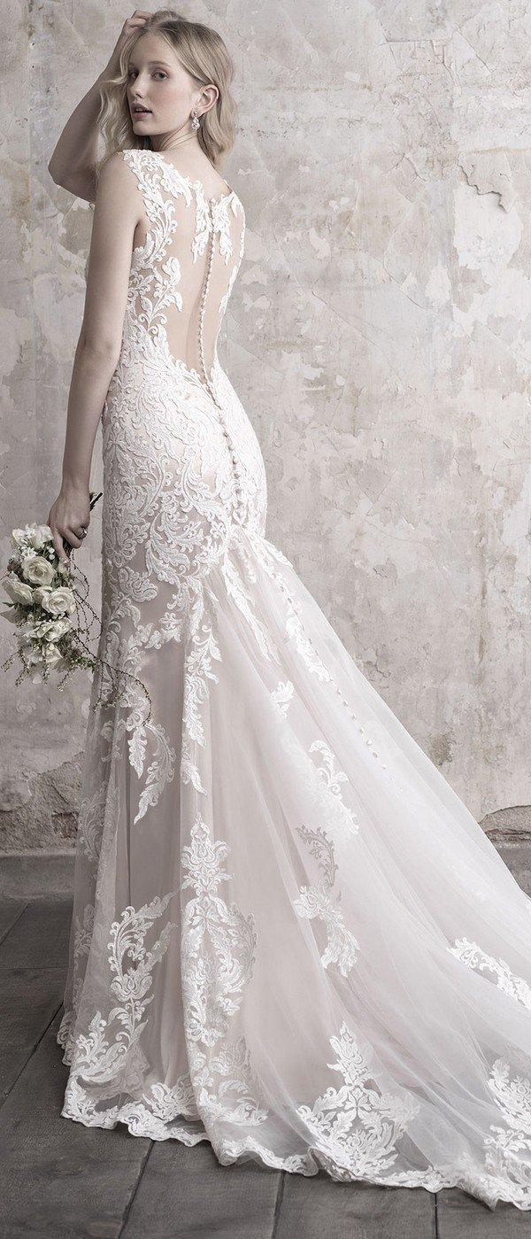 Madison James floral lace v neck wedding dress with illusion back
