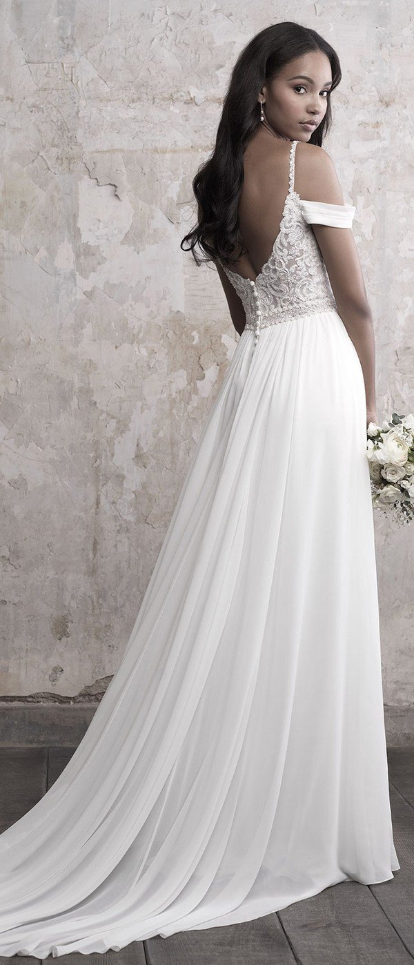 Madison James lace and chiffon off the shoulder wedding dress back view