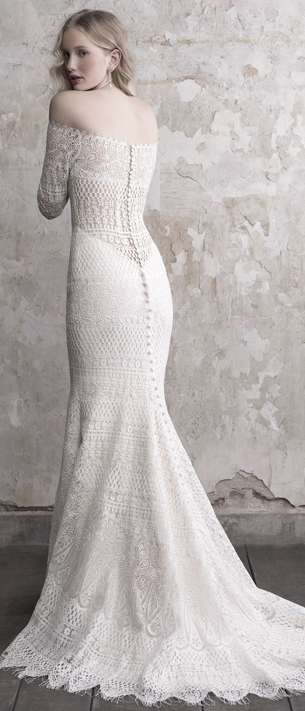 Madison James off the shoulder lace wedding dress with sleeves back view