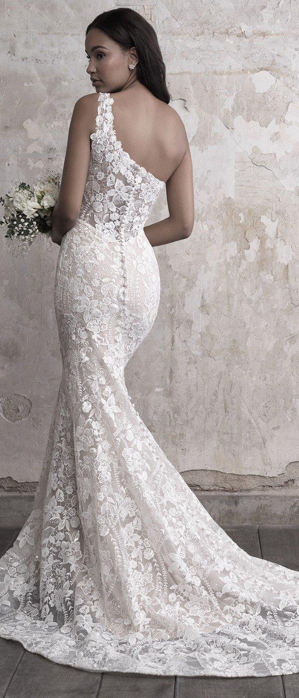 Madison James one shoulder lace wedding dress back view