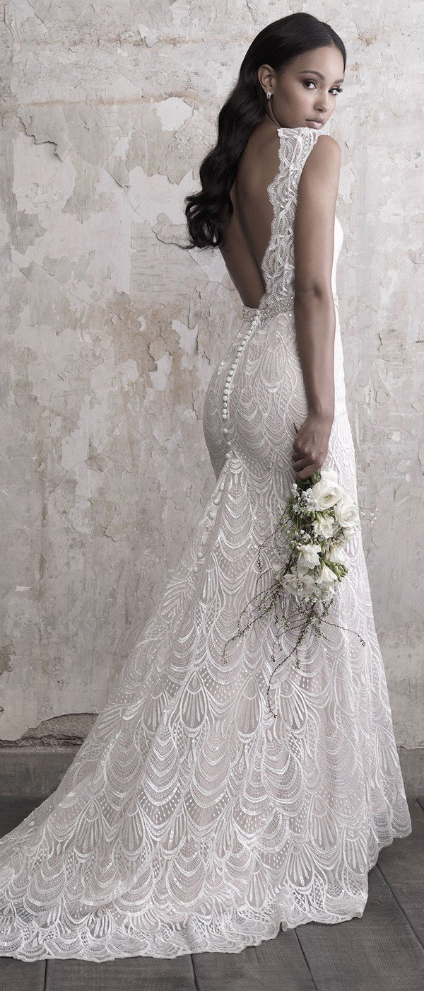 Madison James sequined lace sheath wedding dress with open back