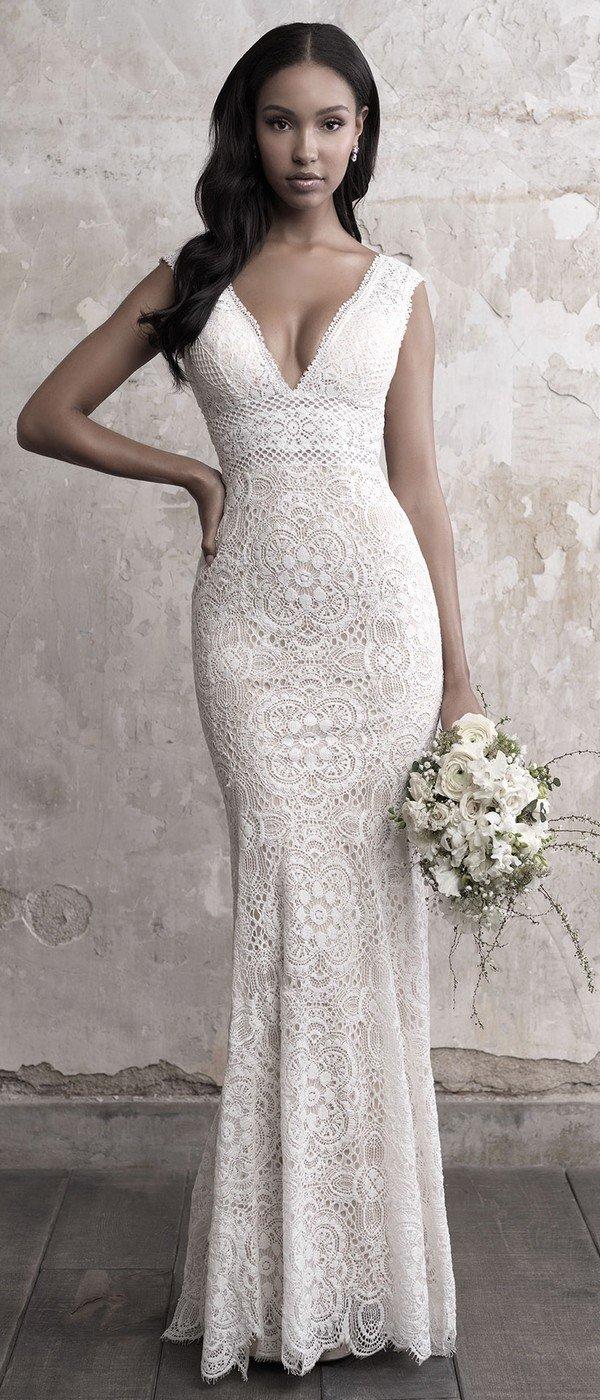 Madison James sleeveless v neck lace wedding dress