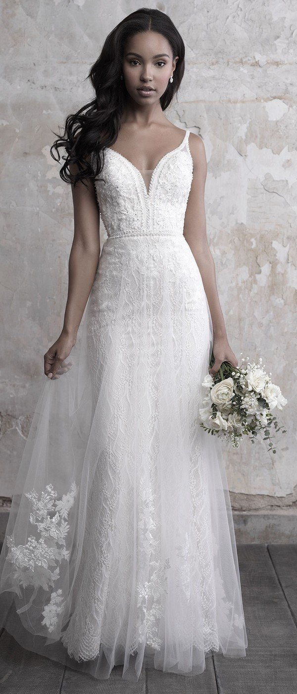 Madison James tulle overlaid a line wedding dress