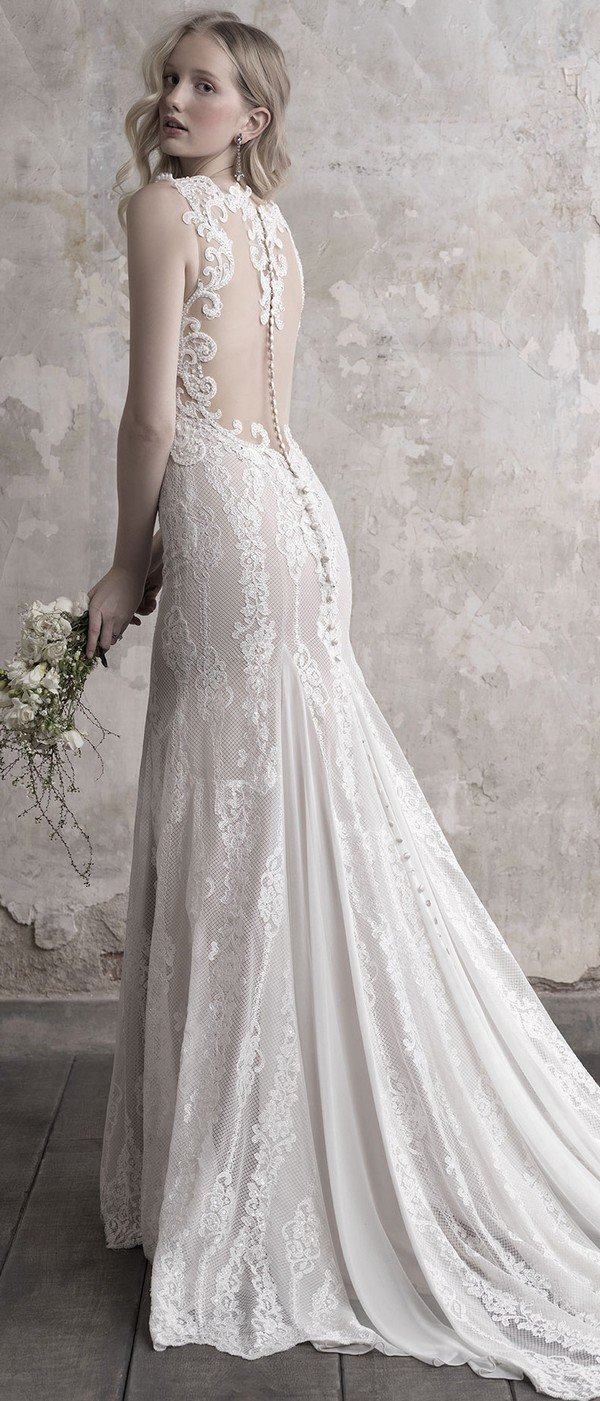 Madison James v neck beaded lace wedding dress with illusion back