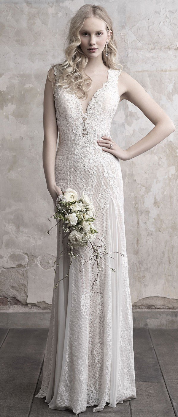 Madison James v neck beaded lace wedding dress