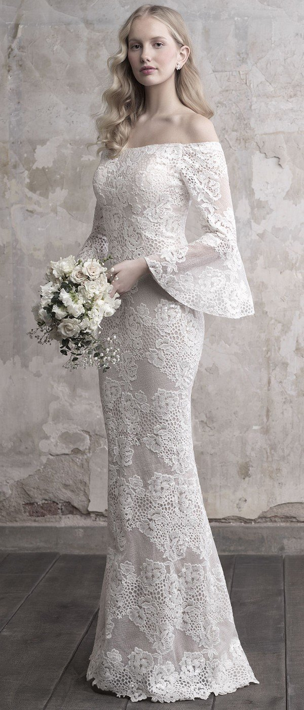 Madison James vintage off the shoulder floral lace wedding dress with long sleeves