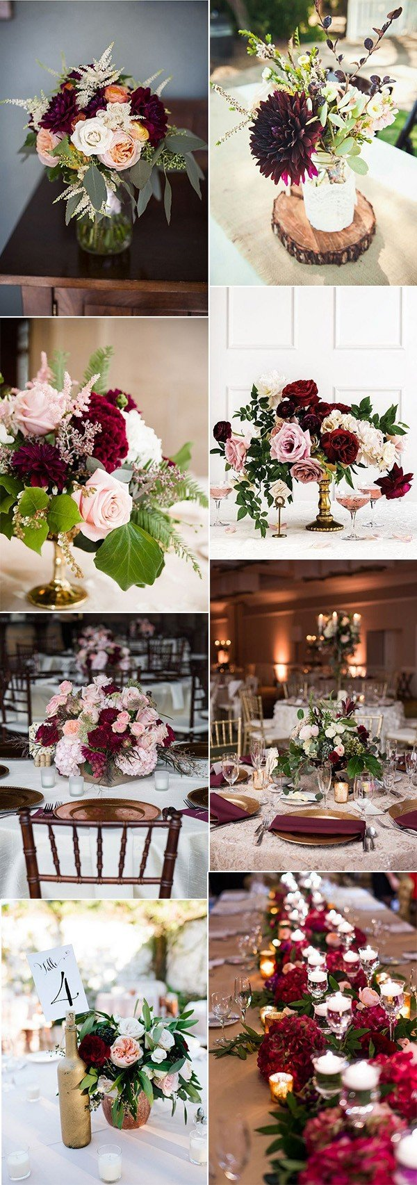 burgundy and blush fall wedding centerpieces for 2018