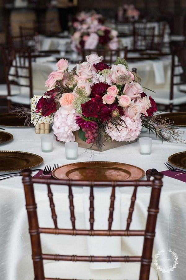 burgundy and pink fall wedding centerpiece