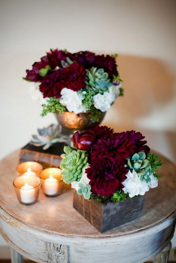 chic rustic burgundy and green fall wedding centerpiece