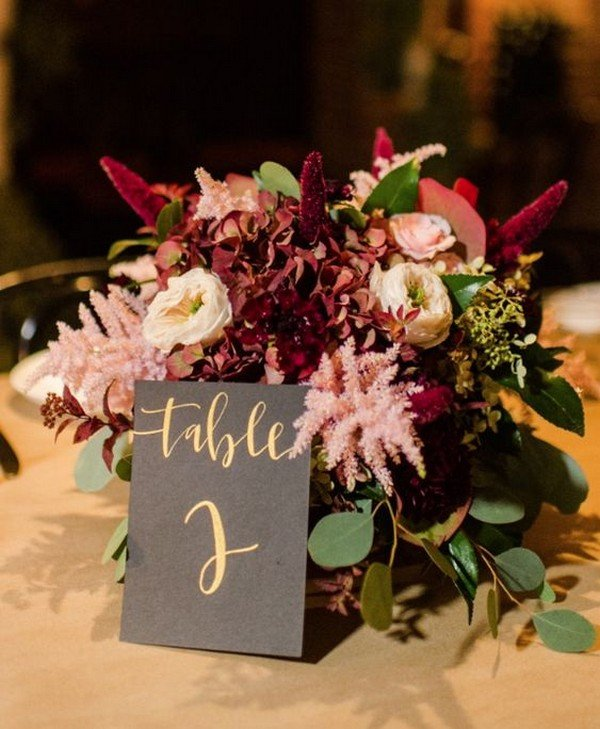 gold and burgundy fall wedding centerpiece ideas