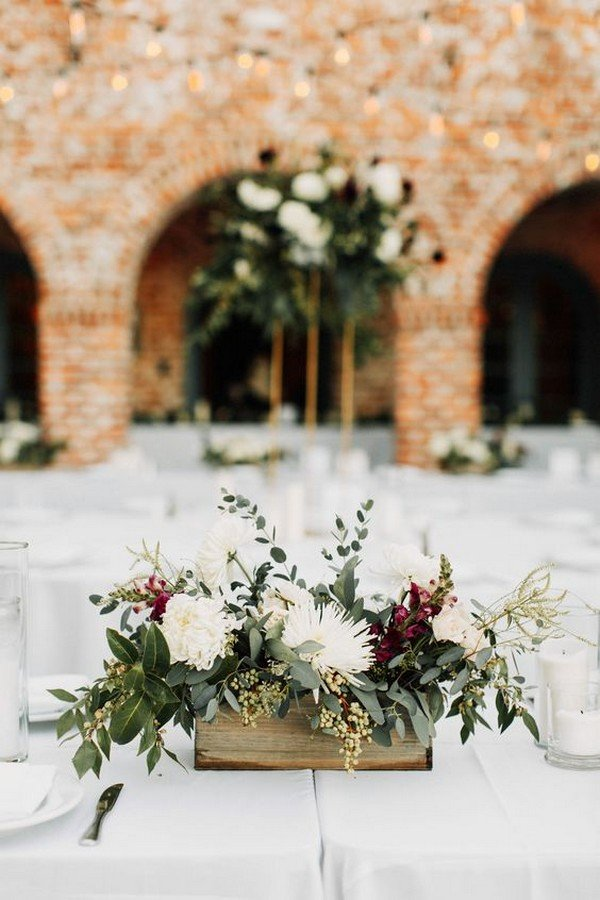 greenery and burgundy fall wedding centerpiece