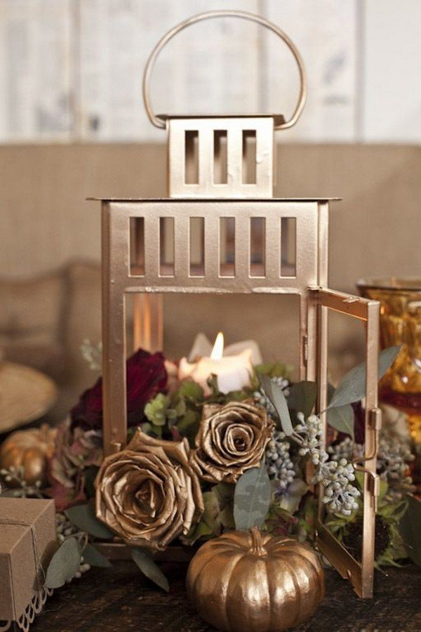 lantern fall wedding centerpiece with gold and burgundy