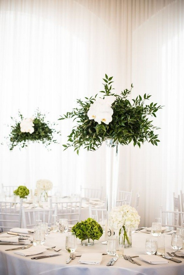 tall wedding centerpieces with olive branch
