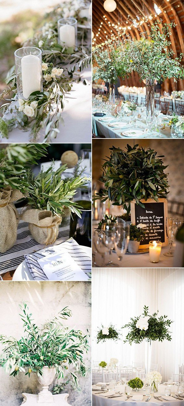 trending wedding centerpiece ideas with olive branch