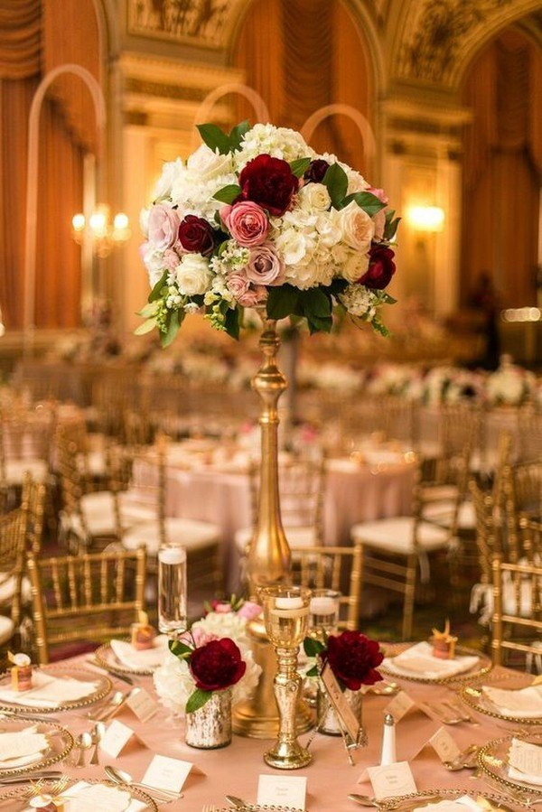 vintage burgundy tall wedding centerpiece for fall 2018