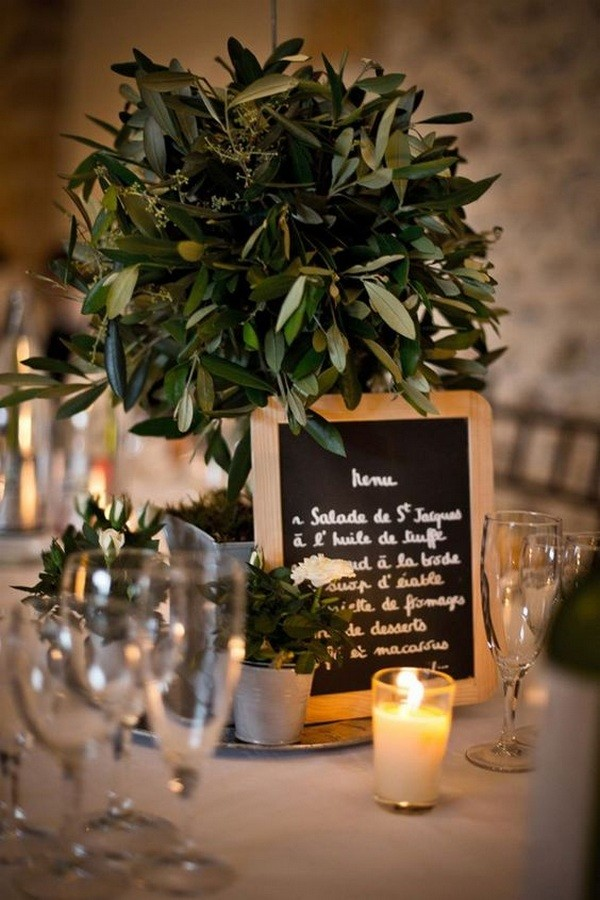 vintage olive branch wedding centerpiece ideas