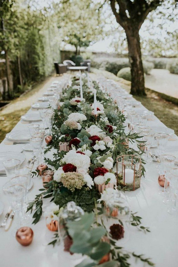 white burgundy and greenery long wedding centerpiece ideas for fall
