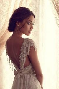 Anna Campbell vintage v neck sequins wedding dresses