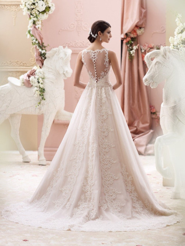 David Tutera illusion sleeveless long wedding dresses