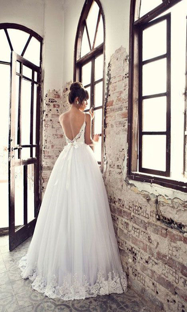 Julie Vino backless stunning lace wedding dresses