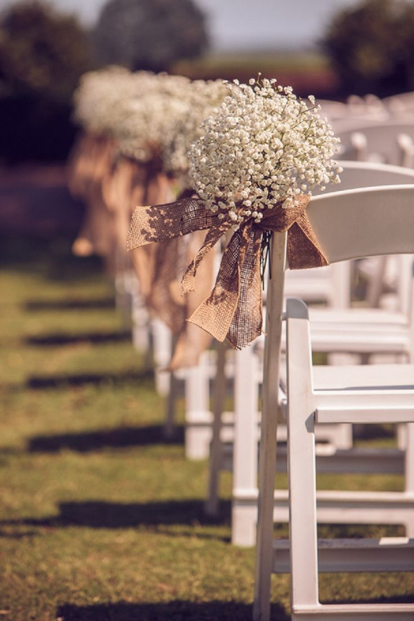 Rustic Themed Burlap Wedding Aisle Chair Décor