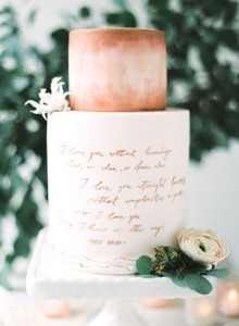 2 tiered mettalic bronze hued fall wedding cakes 2016 trends
