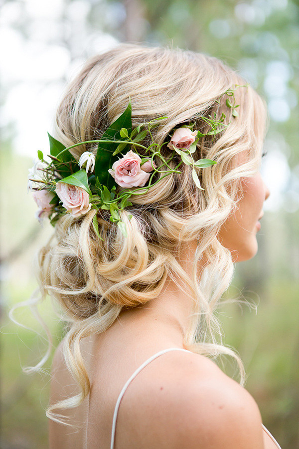 Romantic wedding hair with half halo of roses for boho brides oh most romantic bridal updos wedding hairstyles to inspire your big day junglespirit Gallery