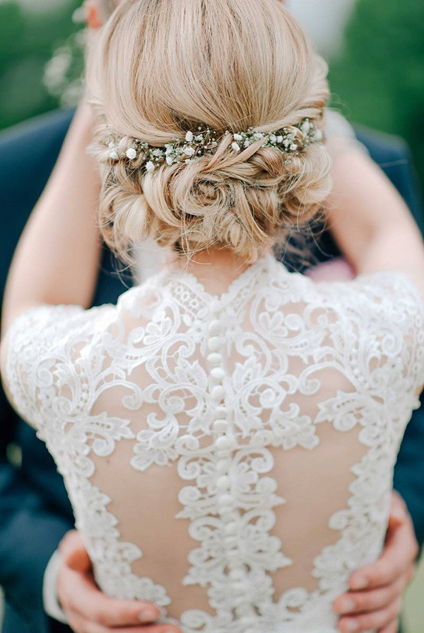 Sophisticated Lace Wedding Dress And Updo Wedding Hairstyle Perfect