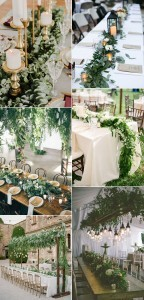 cascading wedding centerpieces ideas with green floral