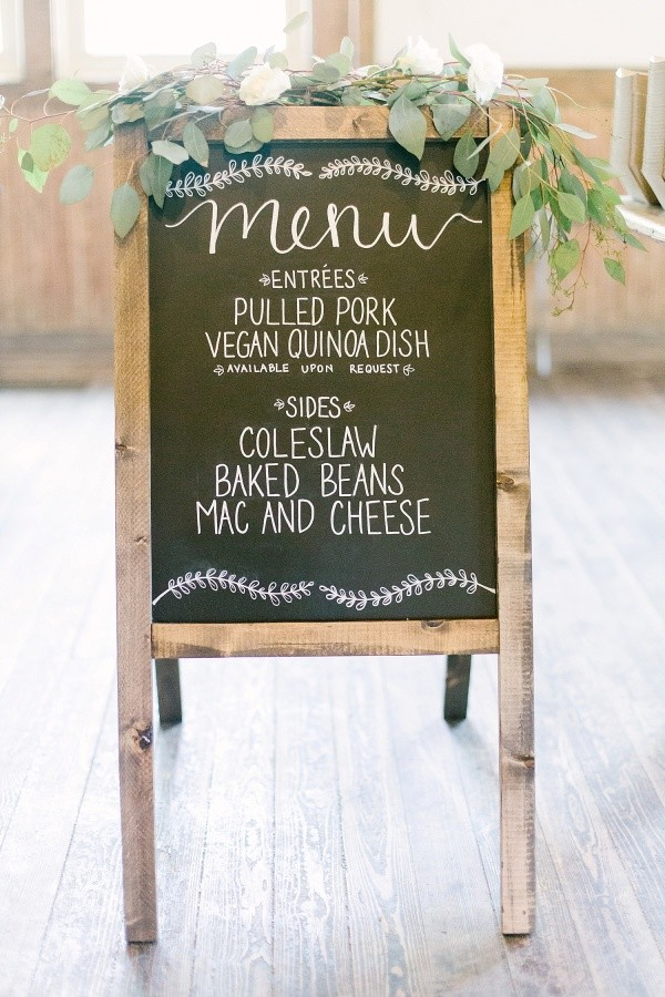 chic green floral decorated chalkboard wedding sign