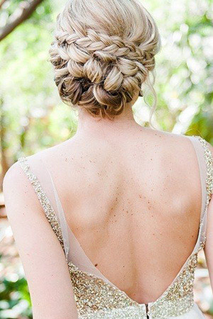 elegant twisted updo wedding hairstyles with glitter dress