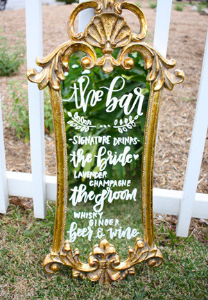 vintage mirror inspired wedding signs