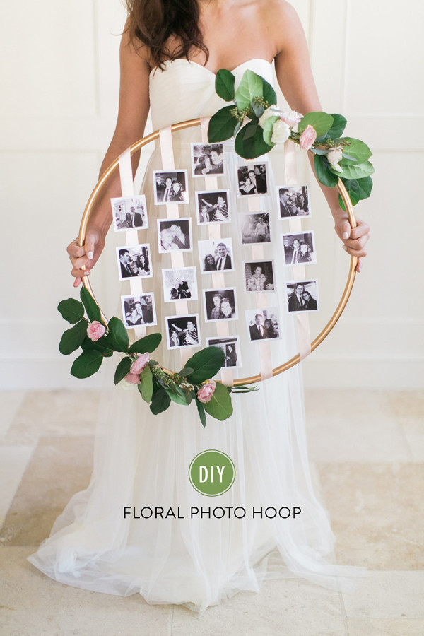 diy floral photo hoop for unique wedding ideas