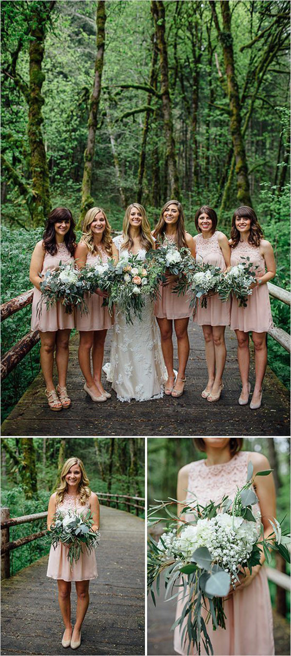 bridesmaid dresses and bouquet ideas for a forest wedding