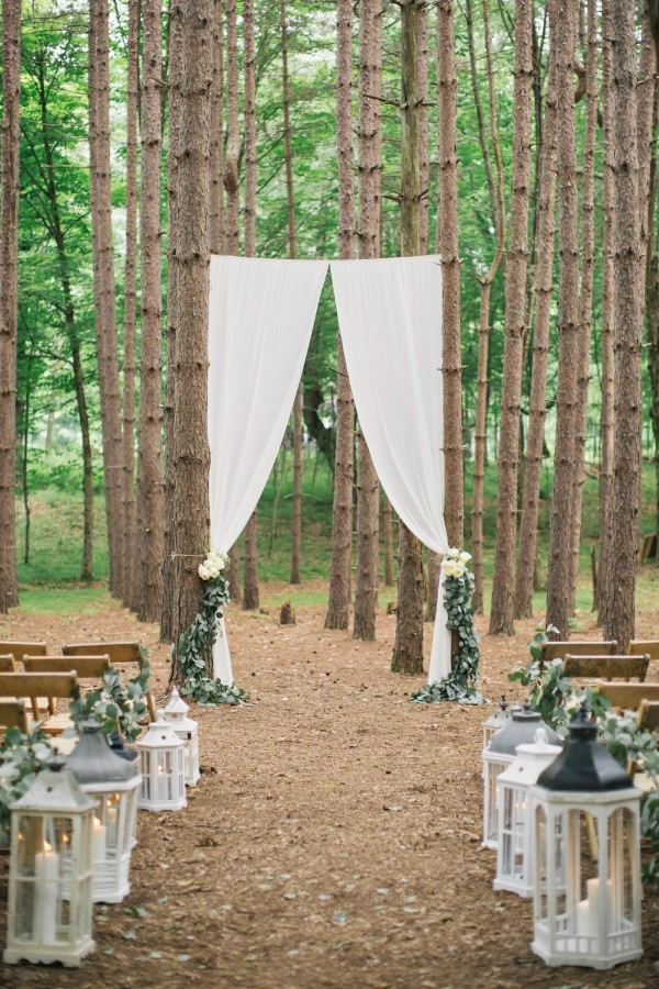 diy forest wedding ceremony ideas with lantern aisle
