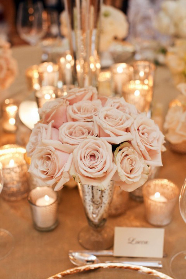 elegant blush pink wedding centerpiece ideas with candles