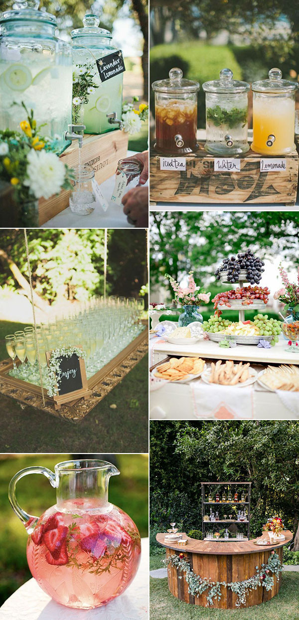 food and drinks serving ideas for garden wedding trends 2017