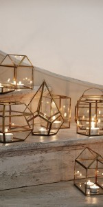 modern wedding decorations with candles and geometric figures