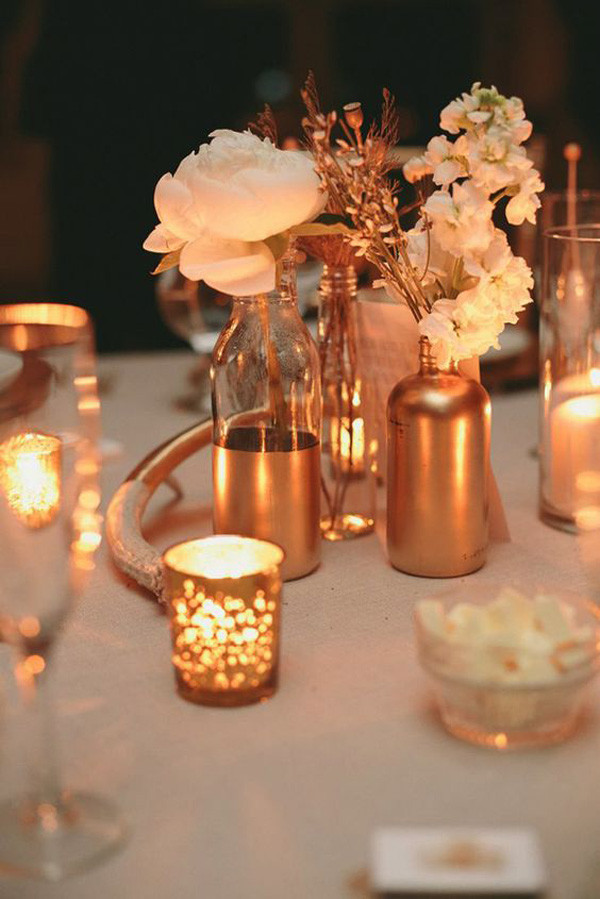 vintage metallic wedding centerpieces with candle ideas