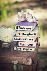vintage wedding table settings with books