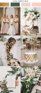 2017 trending gold pink and green wedding color schemes