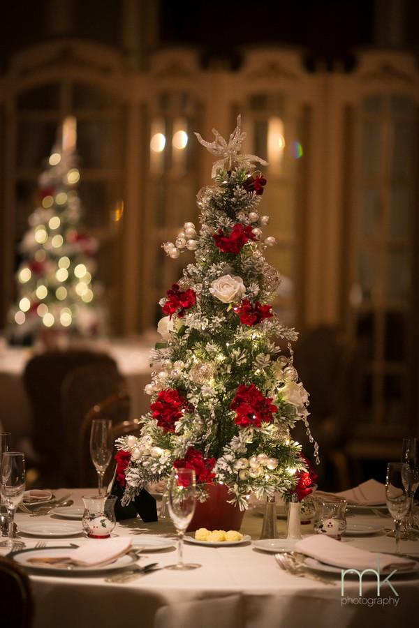 Christmas treeinspired winter wedding centerpieces tall