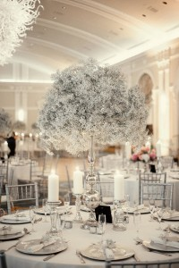 all white winter tall wedding centerpieces