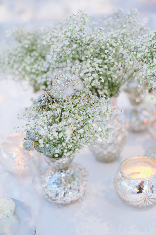 baby's breath inspired winter wedding centerpieces