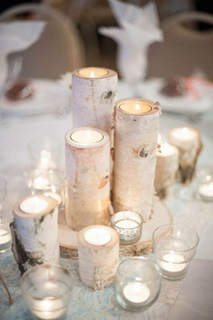 birch trees inspired winter wedding centerpieces with candles
