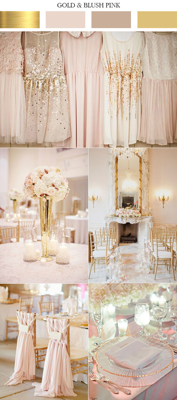 feminine gold and blush pink elegant wedding color ideas
