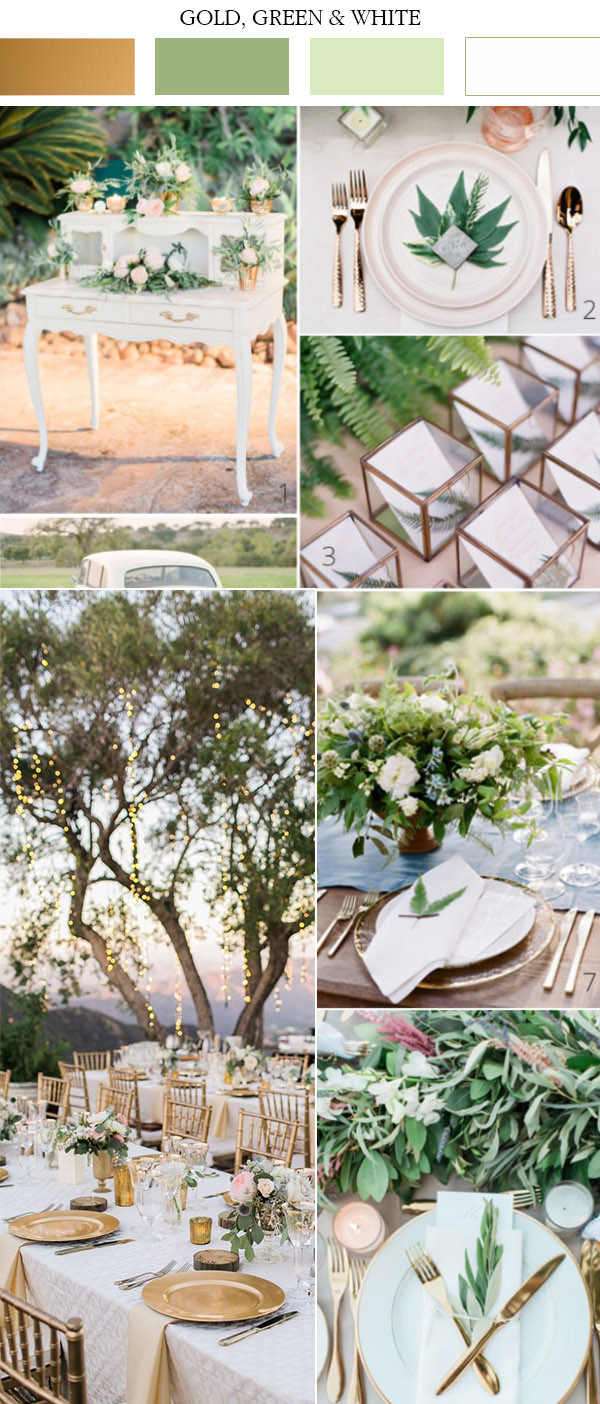 gold white and green wedding color ideas for spring 2017