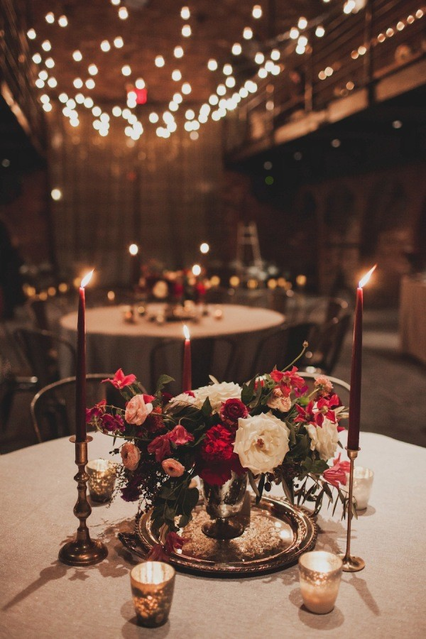 romantic winter wedding centerpieces with flowers