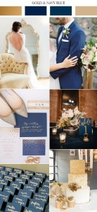 vintage gold and navy blue wedding color trends 2017